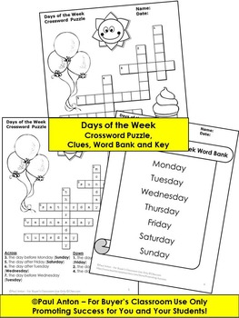 Days of the Week Crossword Puzzle Worksheet, Days of the Week Activity