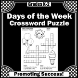 Days of the Week Worksheets, Vocabulary Crossword Puzzle with Word Bank