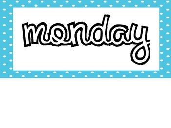 Days of the Week Bin Labels