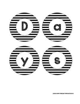 Days of the Week - Black & White Stripes - For Display and Calendar Use