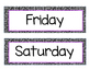 Days of the Week Black and White with Purple Accent