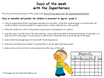 Days of the Week Booklet