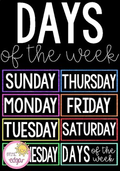 Days of the Week | Bright and Bold