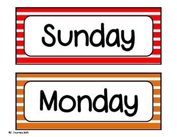 Days of the Week Bulletin Board Calendar Set