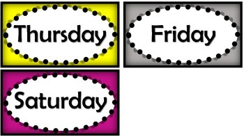 Days of the Week Bulletin Board Hands on Display!
