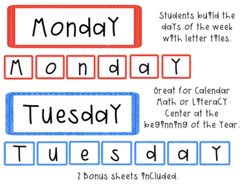 Days of the Week Calendar Center Game