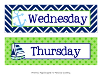 Days of the Week Calendar Headers Nautical Navy and Lime