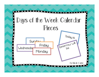 Days of the Week Calendar Pieces