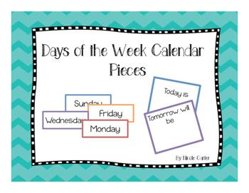 Days of the Week Calendar Pieces