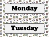 Days of the Week Calendar Strips - Owls Theme - King Virtue