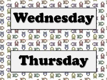 Days of the Week Calendar Strips - Owls Theme - King Virtue