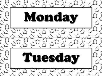 Days of the Week Calendar Strips - Superstars Theme - King Virtue