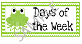Calendar Days of the Week Cards (FROG THEME)