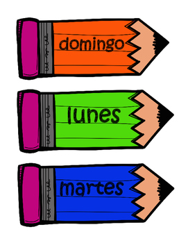 Days of the Week Cards, Spanish