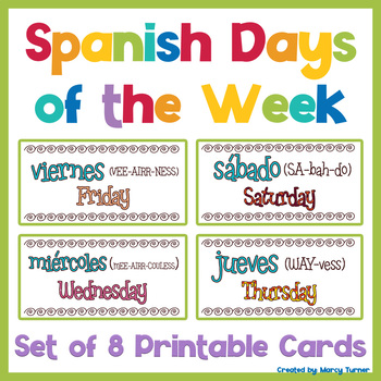 Distance Learning Spanish Days of the Week Printable ...