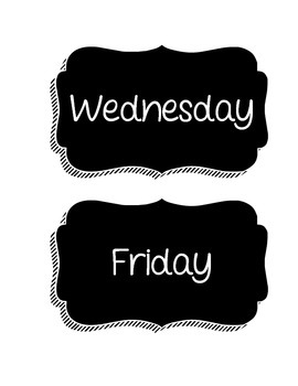 Days of the Week Chalkboard Labels