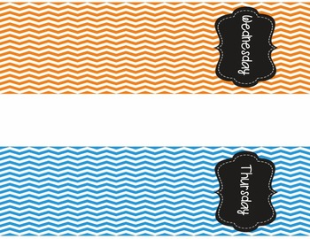 Days of the Week {Chevron Magazine File Labels}