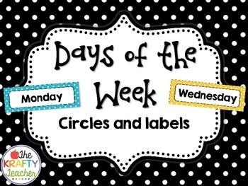 Days of the Week Circles and Labels Polkadot, Rainbow Dots