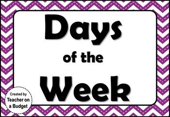 Days of the Week Classroom Display (Chevron)