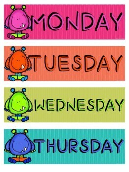 Days of the Week Flashcards - Monster Theme