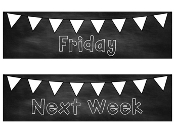 Days of the Week Classroom Labels Calendar Organization Bulletin Board Black