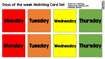 Days of the Week Color Matching Cards