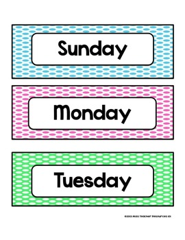 Days of the Week - Colorful Polka Dots - For Display and Calendar Use