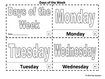Days of the Week Coloring and Tracing Booklets