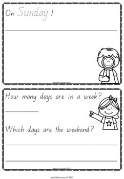 Days of the Week Concept Book QLD Beginners Font