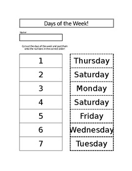 Days of the Week Cut/Paste