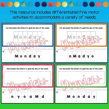 Fine Motor Skills Activities  DAYS OF THE WEEK