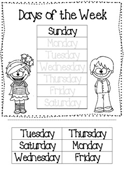 Days of the Week - Cut & Paste Worksheet by Mrs Seipel's ...
