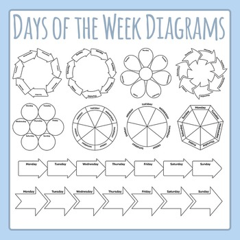 Days of the Week Diagram Clip Art Set for Commercial Use