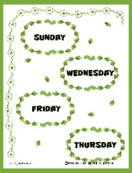 Days of the Week - Differentiating Fonts - Word Match File Folder Game
