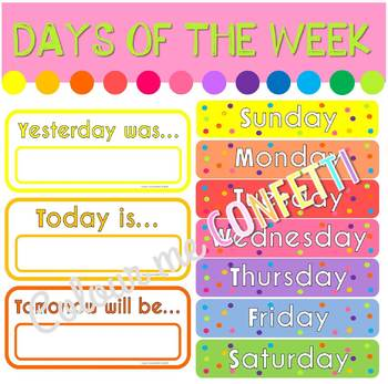 FREEBIE Days of the Week - Yesterday, today, tomorrow - Colour me Confetti
