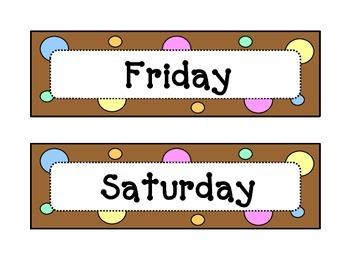 Calendar - Days of the Week - Dots & Pastel, Chocolate Brown Theme - w/Header