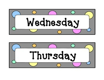 Calendar - Days of the Week - Dots & Pastel, Grey Theme - w/Header