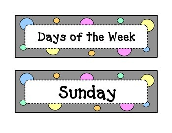 Calendar - Days of the Week - Dots & Pastel, Grey Theme -