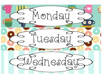 Days of the Week Drawer Labels- Coffee and Donuts