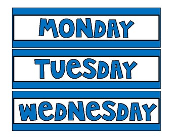 Days of the Week Drawer Labels-Choice of Rainbow Colors