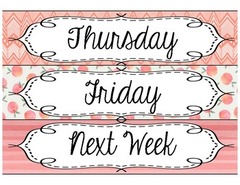 Days of the Week Drawer Labels- Peach Bellini