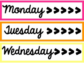 Days of the Week Drawer Labels - White Background (Sterlite)