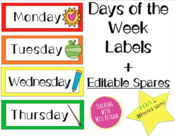 Days of the Week EDITABLE