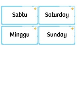 ENGLISH-INDONESIAN Days of the Week Flash Cards