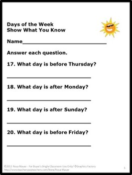 Days of the Week Task Card Set