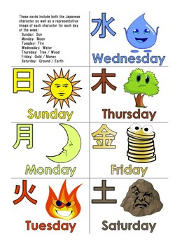 Days Of The Week English Amp Japanese By Elementary Esl