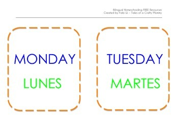 Calendar Wall Days of the Week English and Spanish