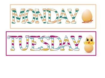 Days of the Week Flash Cards (Chicken Themed)