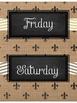 FREE~Days of the Week Fleur de Lis Chic {Burlap & Black}
