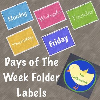Days of the Week Folder Labels